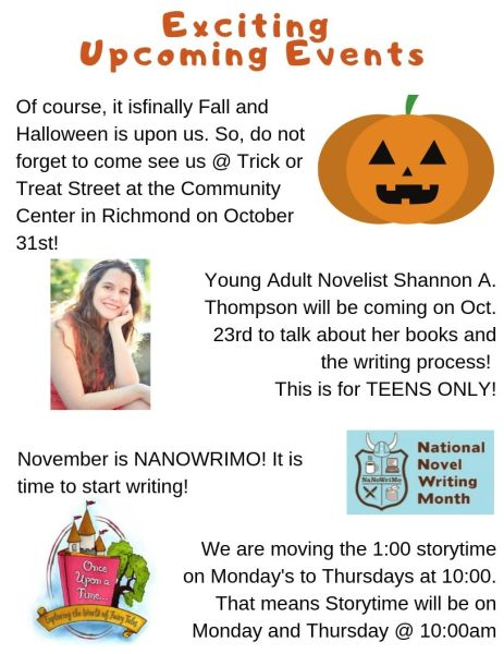 October Newsletter Upcoming Events